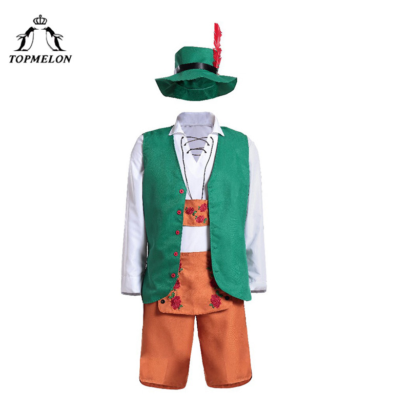 TOPMELON Cosplay Peasant Clothes Uniform Men Halloween Holiday Shows Plays Costume Irish Tops + Vest + Hat + Pants