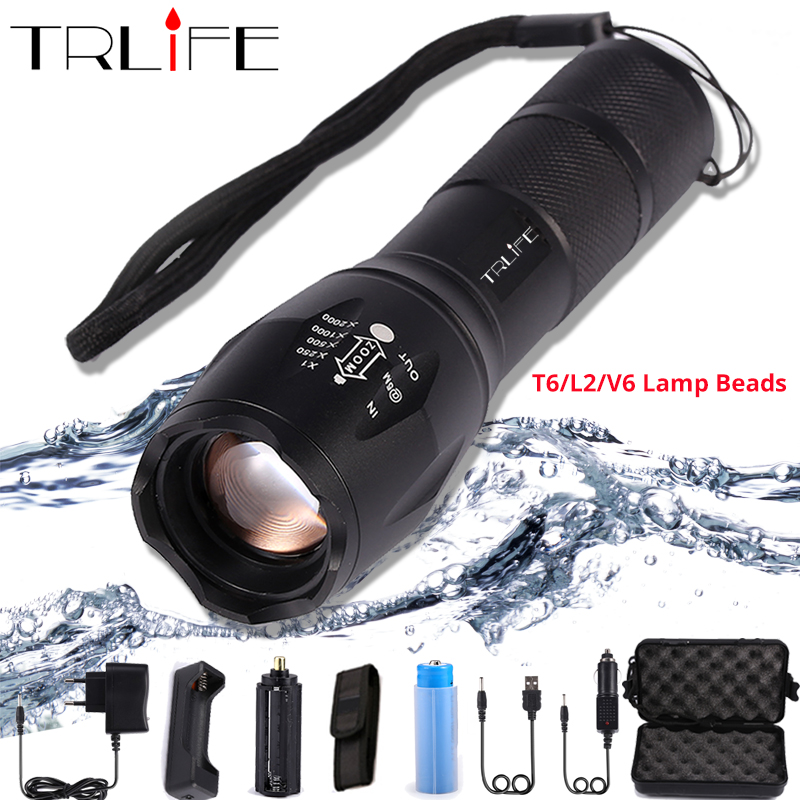 10000 LM Led Flashlight Ultra Bright torch T6/L2/V6 Flash light 5 switch Modes Zoomable Bike Light By 18650 Battery for Camping
