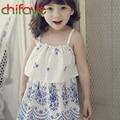 Chifave 2016 Nuevas Muchachas Del Verano Vestido de Blanco Y Azul Sin Mangas de Color de Ropa de Bebé Niños Niños Chicas Ruffles Vestido Estampado