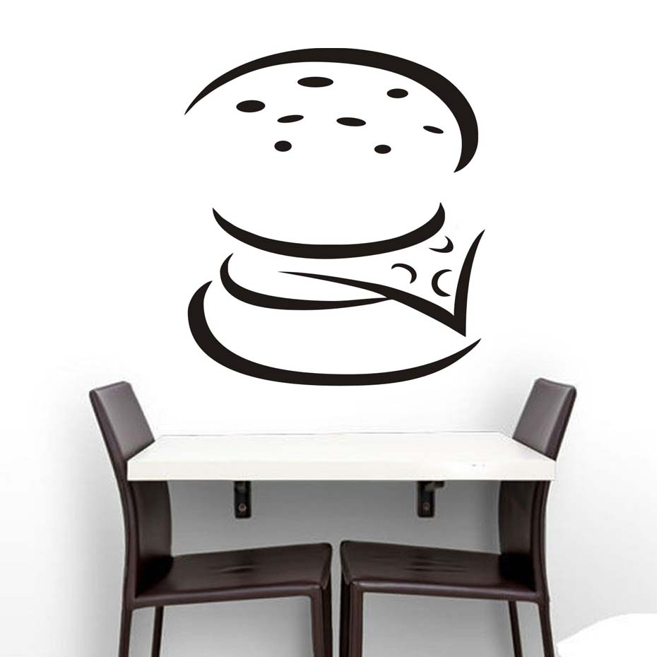Diy Simple Stencil Hollow Out Burger Kitchen Wall Stickers Home ...
