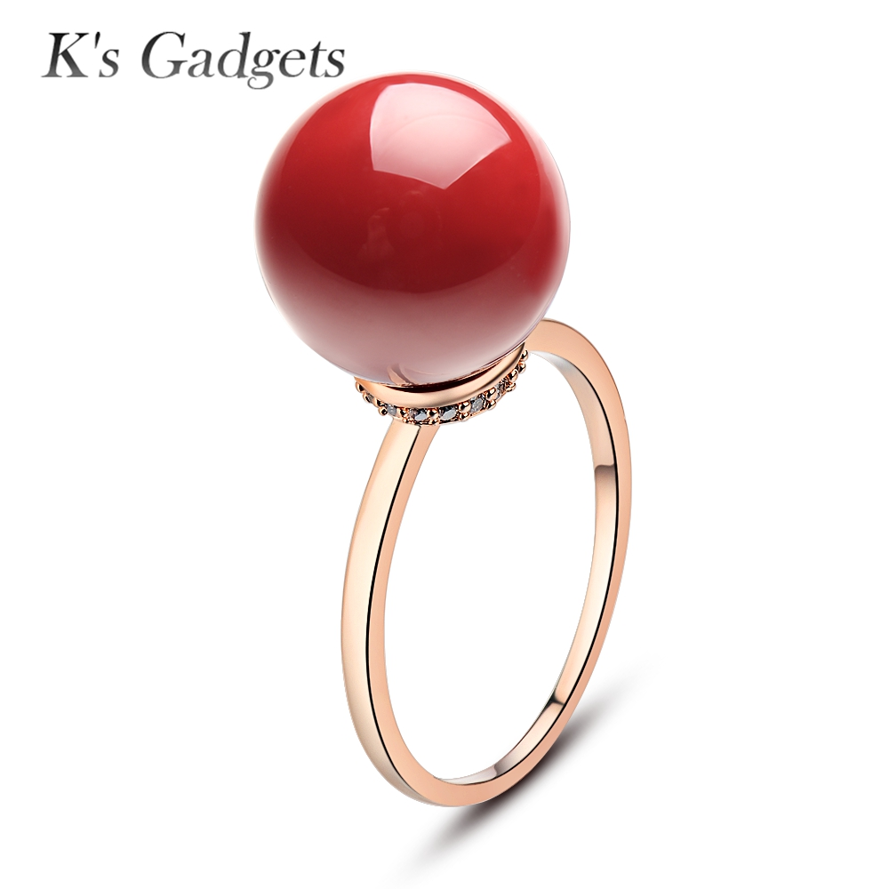Classic Natural Stone Ring Silver Rose Gold Color Stone Ball Ring Red Coral  Ring Cubic Zirconia