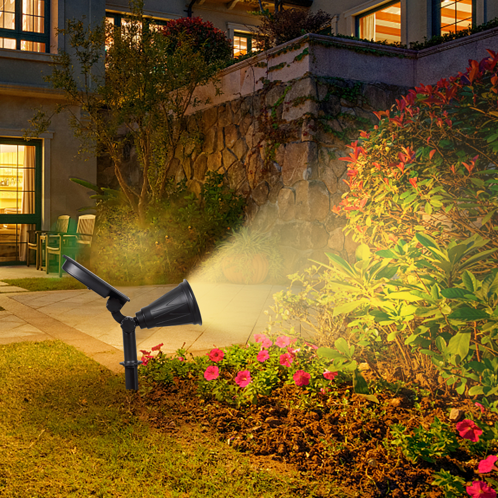 T SUNRISE 2PACK 7 LED Solar Spotlight Auto Color Changing Waterproof ...