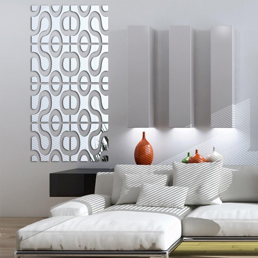 Modern Design DIY Acrylic Mirror Wall Art Home Decor 3D Wall Sticker ... for Modern 3d Wall Stickers For Living Room  156eri