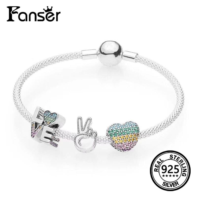 FANSER 2018 Summer NEW Rainbow Series love Heart Shape pendant leather rope bracelet Original LOGO pandor jewelry for women