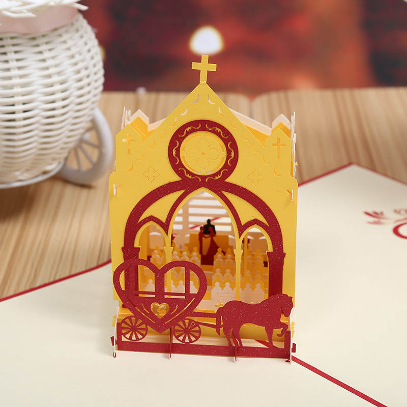 Manufacturers selling wedding chapel stereo creative wedding invitation wedding invitation Valentine's cards can be customized