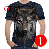YSB018 Casual Tee shirt 3D Printer Wolf For Men/women Funny Tshirt Short Sleeve Streetwear T shirts Costume Plus