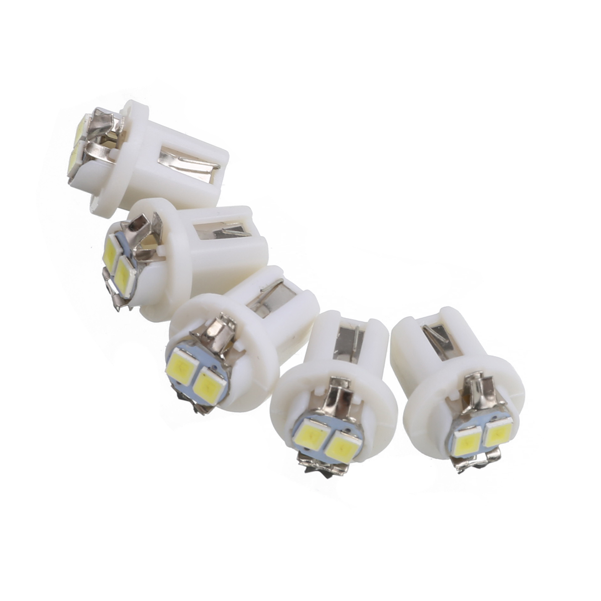 Universal 10pcs 12V 13.8mm White T5 B8.5D 3528 2 LED Car Dash Gauge Instrument Wedge Light Dashboard Tacho and Odometer Bulb