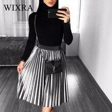 Wixra 2017 New Autumn Winter Womens Fashion Velvet Pleated Skirt Empire Gorgeous Skirts Female Casual Elastic Waist Midi Skirts