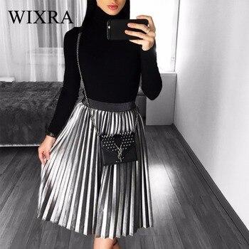 Wixra 2017 nouveau automne hiver femmes mode velours jupe plissée Empire magnifiques jupes décontracté taille élastique jupes Midi