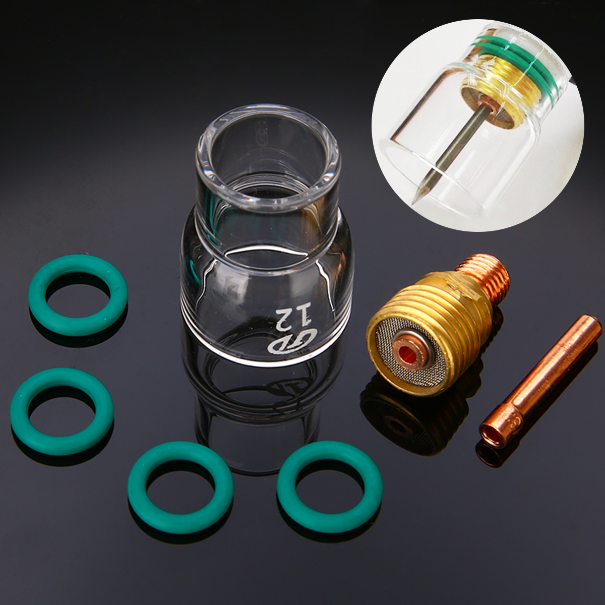 7pcs/set  #12 Pyrex Glass Cup Kit Stubby Collets Body Gas Lens TIG Welding Torch For WP-9/ 20/ 25 Mayitr Welding Accessories