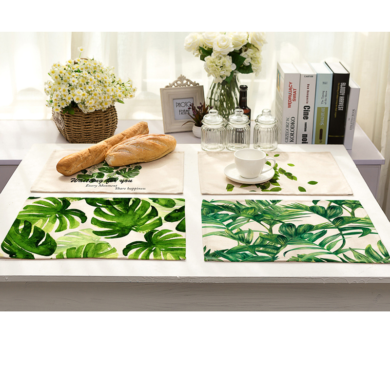 Green Leaves Pattern Cotton Linen Western Pad Placemat
