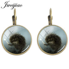 JWEIJIAO Vintage Hedgehog In The Fog Clip On Earrings Glass Cabochon Charm Ear Cuff Ear Clips Earring Dropshipping HF16(China)