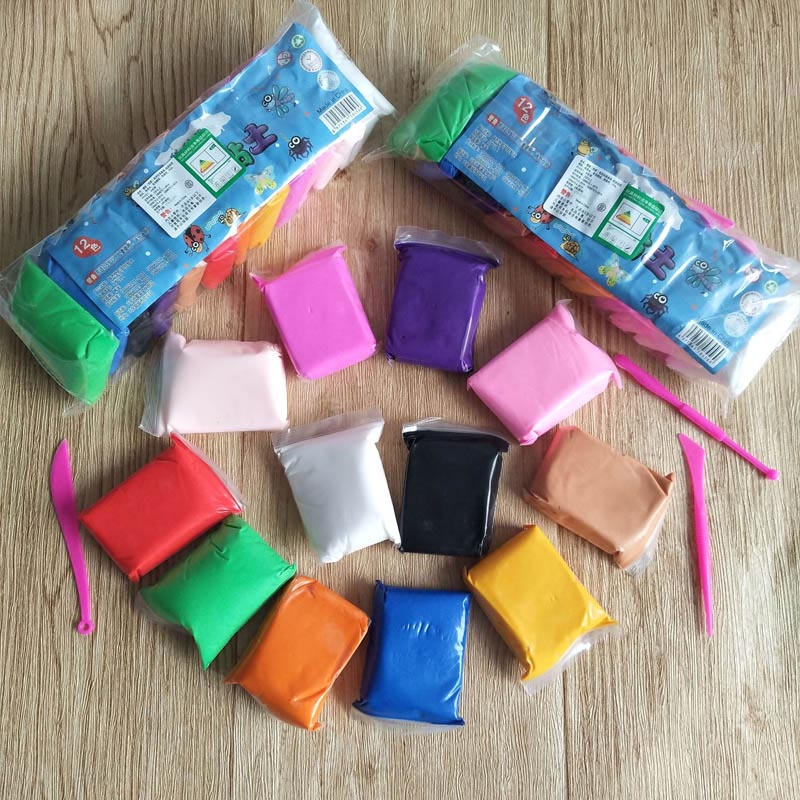 12 Colors Safe Nontoxic Modeling Clay Plasticine Super LLight Clay Polymer Children Learning Education Toys Hobbies Handicrafts