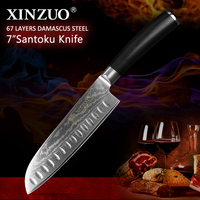 XINZUO 7'' inch Santoku Knife Damascus Steel High Carbon Stainless Steel G10 Handle Japanese Gyuto Meat Knife Kitchen Knives