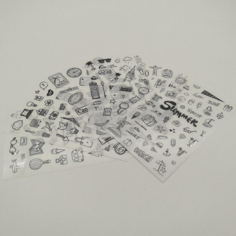 6pcs Black Travel Pvc Transparent Ticker Organizer Calendar Diary Book Planner Scrapbook Decoration  Papeleria Sale