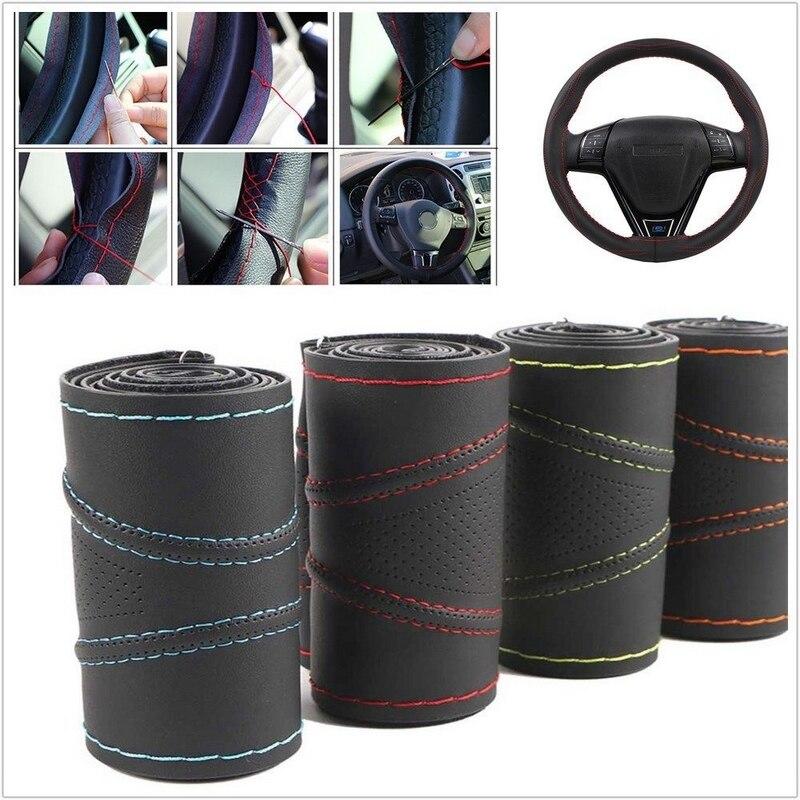38CM DIY Car Steering Wheel Cover 3D Non-slip Elastic Micro Fiber Leather Auto Steering Covers Steering Wheel 4 Colors