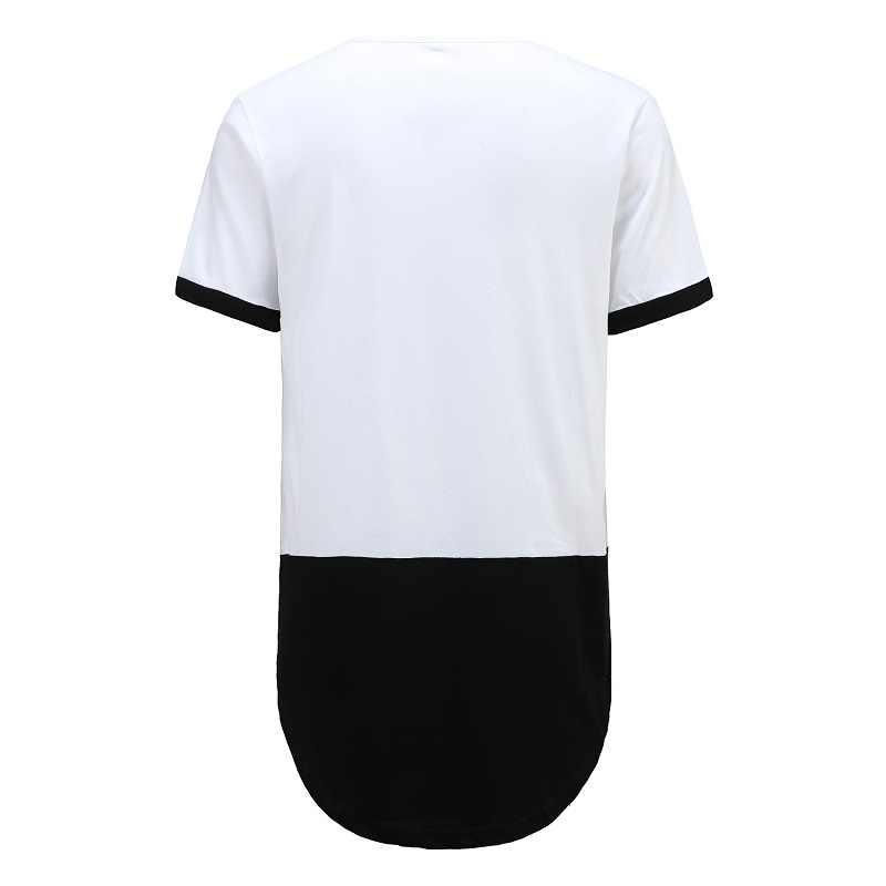 Pria Patchwork Hip Hop T-shirt Kasual Streetwear Lengan Pendek T Shirt Pria Fashion 100% Atasan Katun Tshirt BMTX56 R