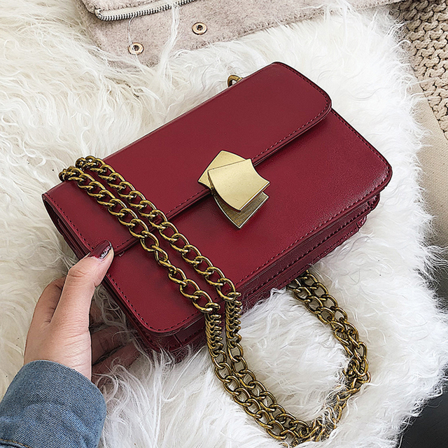 ETAILL Women PU Leather Lock Small Chains Flap Bags Designer Bags Famous Brand Women Bags 2019 Ladies Fashion Messenger Bags