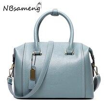 2016 New Fashion Women 100% Genuine Leather Boston Shoulder Tote Bags Travel Zipper Solid Bag Womens High Quality HandBag smb286