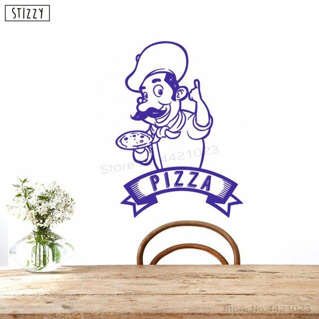 Stizzy Wall Decal Kitchen Pizza Chef Logo Vinyl Wall Stickers Window