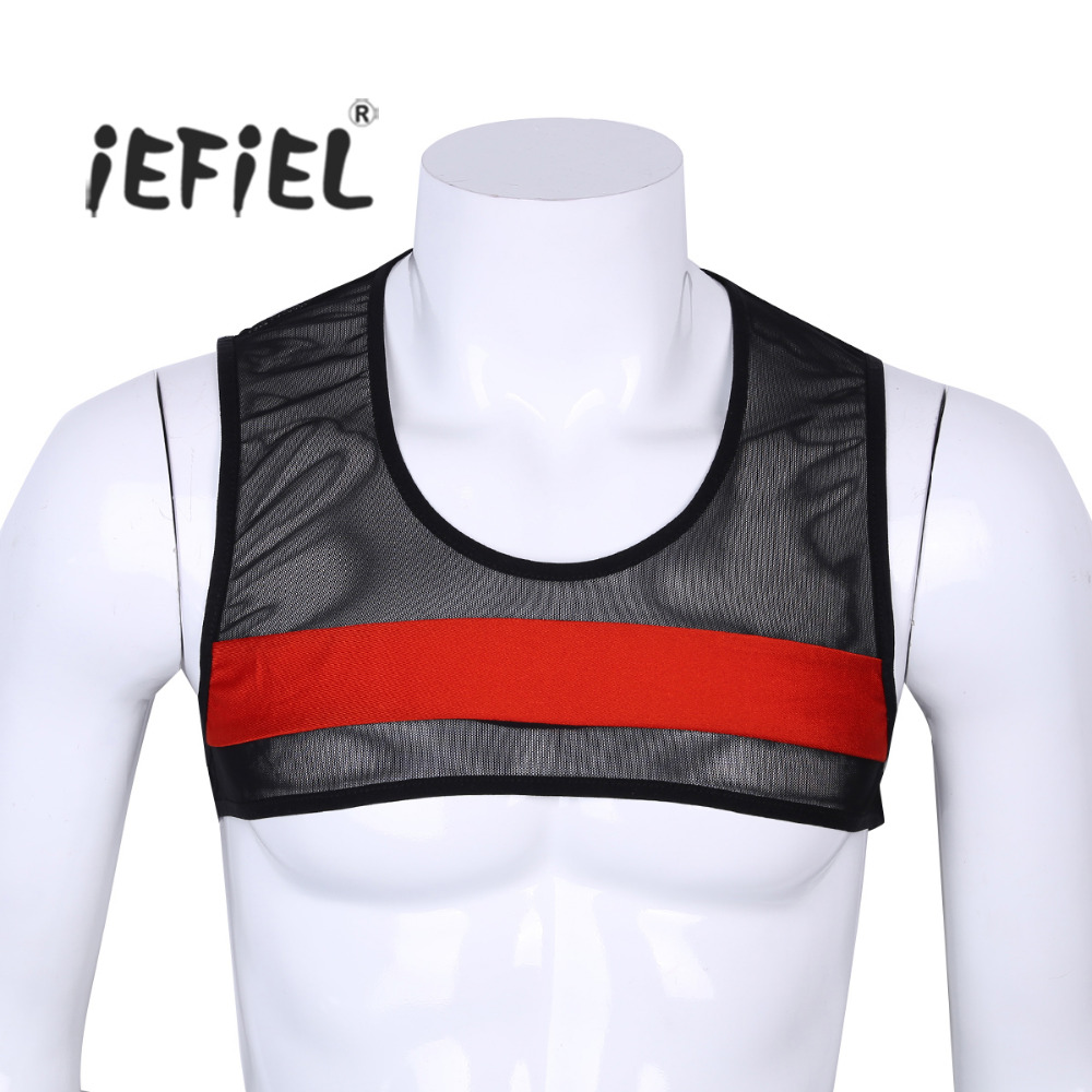 iEFiEL Mens Sleeveless Sheer Mesh Fishnet Muscle Half   Tank     Top   Vest Harness Clubwear Stage Costume Evening Party Crop   Tops