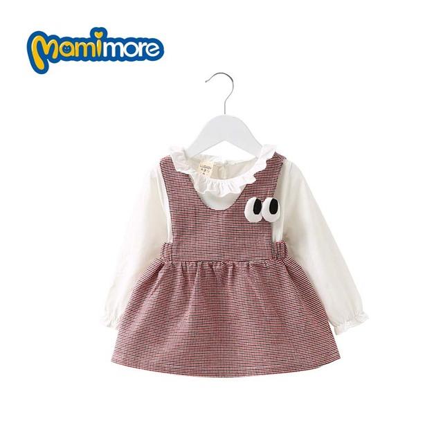 Mamimore 2 unids baby girls dress primavera otoño largo de la manga Ropa de los niños de Algodón A Cuadros Vestidos Encantador de La Venta Caliente 3 Colores bebés