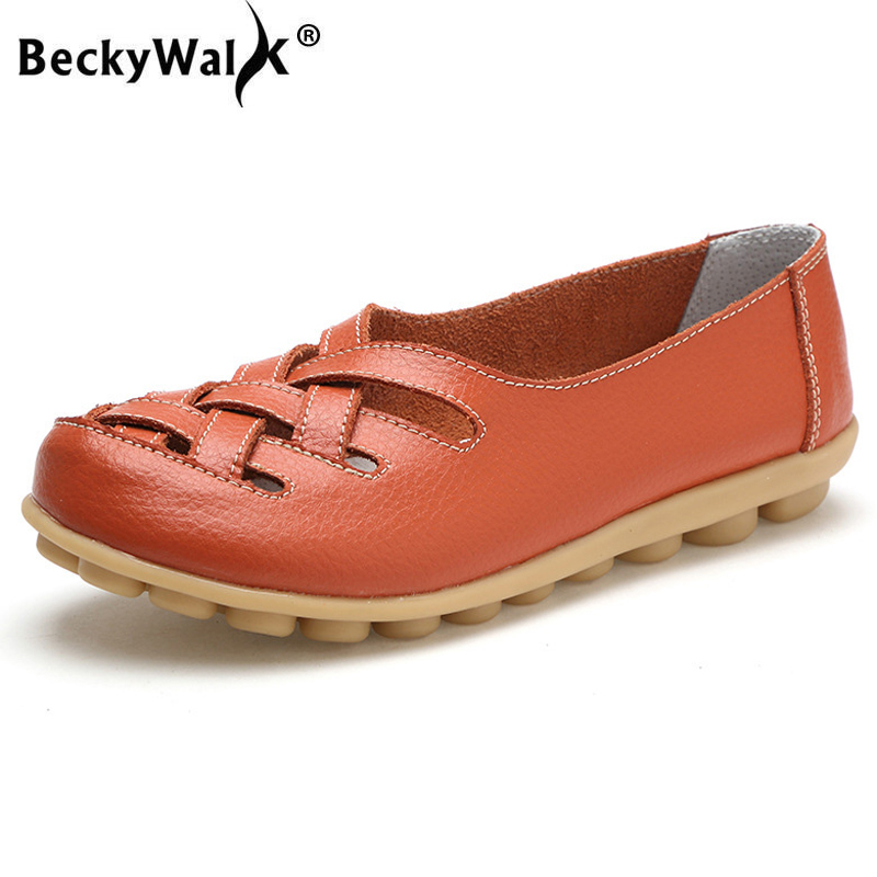 BeckyWalk Summer Plus Size Women Shoes Cutouts Genuine Leather Slip-on Mom Flat Shoes Woman Loafers Casual Ballet Flats WSH2677(China)