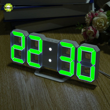 3D LED Digital Clock With Night Mode Adjust The Brightness Modern Electronic Table Clock Alarm Clock Wall Glowing Hanging Clock