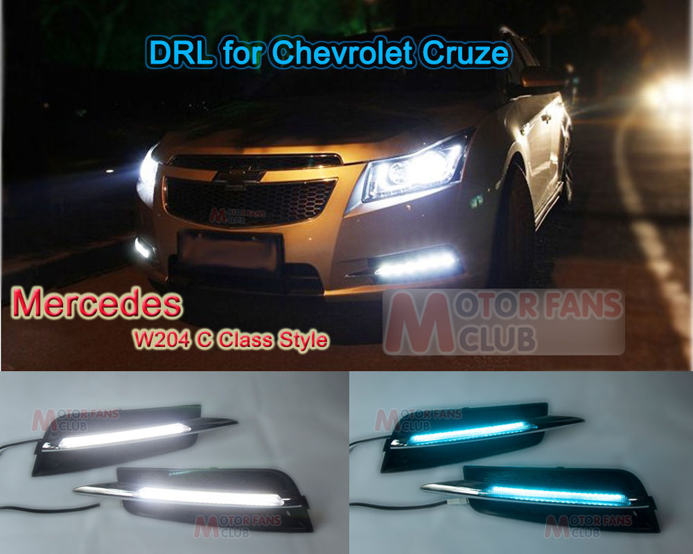 ФОТО New A Pair Car Ice Blue LED Daytime Running Light For Chevy Cruze Lamp DRL 2009+ With Free shipping