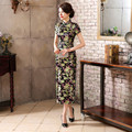 New Flower Black Chinese Women Satin Qipao Classic Silk Cheongsam Long Formal Dress Short Sleeve Size S M L XL XXL XXXL WC057