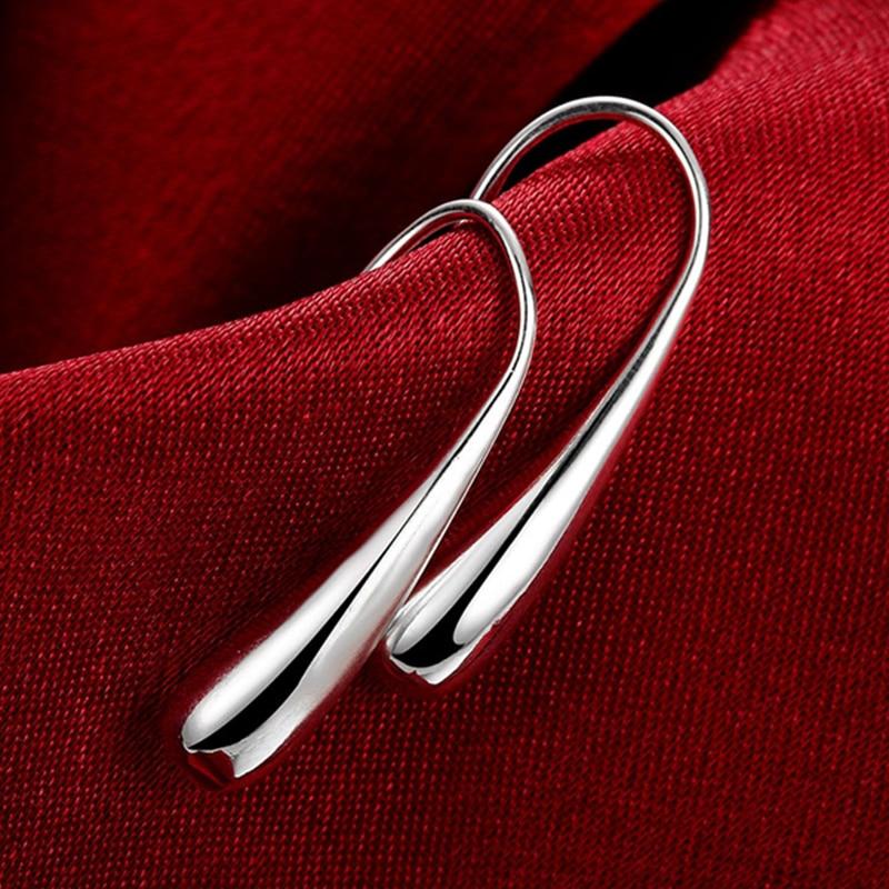 Hot Sale 925 Silver Earring Fashion Jewelry Teardrop Water drop Raindrop Dangle Earrings For Women Valentine Gifts in Drop Earrings from Jewelry Accessories