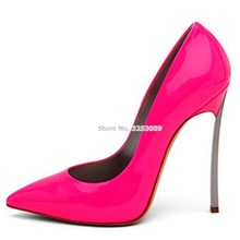 ALMUDENA Sexy Ladies Best Selling Rose Red Patent Leather Pumps Thin Metal Heel Fuchsia Banquet Party Shoes Shallow Slip-on Shoe