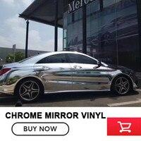 1 52m 20m High Stretchable Silver Chrome Air Bubble Free Mirror Vinyl Wrap Film Sheet Emblem