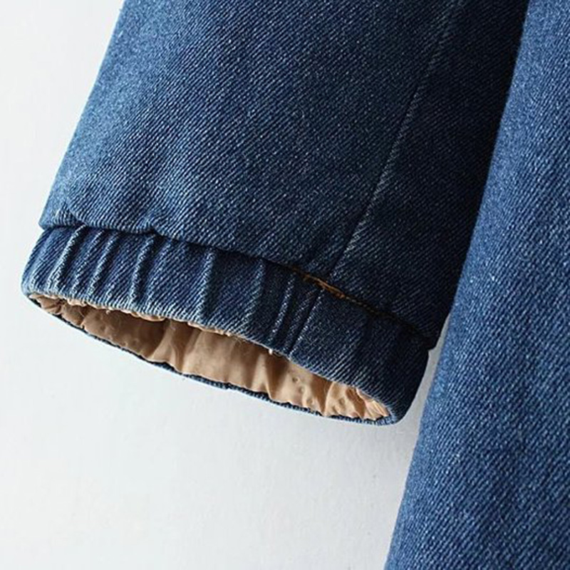 Manteau À Manches Mi Lâche 2018 Mode Longue Jean Automne Femelle Épais En Blue Veste Capuchon De Longues Hiver Dd253 Femmes Nouvelle Denim Coton qwxxO47S