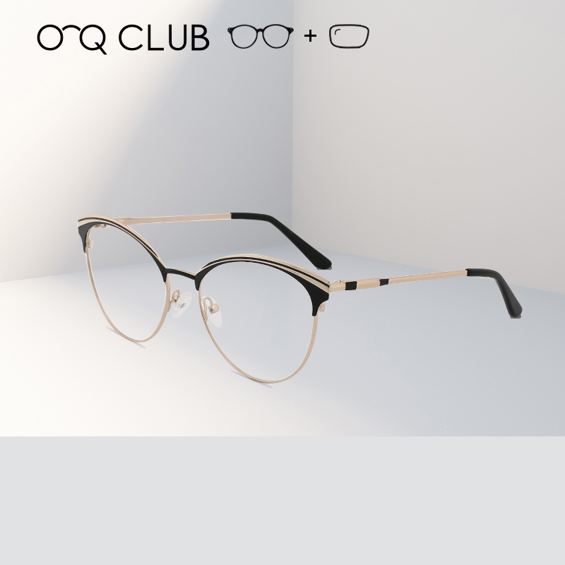 Fashion Metal Half Frame Unisex Glasses Frame Retro Women Men Prescription Spectacles Clear Lens Computer Eyeglass Frame(China)