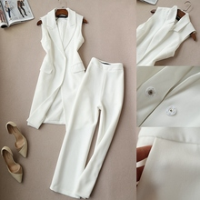Ladies vest suit spring and autumn new Korean suit two-piece suit long vest jacket wide leg pants suit nine pants women цена