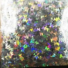 10g/bag Butterfly Shape Holo Glitter Nail Sequins 3.0MM Holographic Silver Color Flakes Decorations F1LS12#