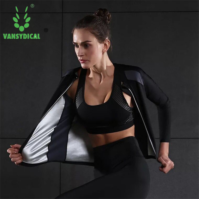 Plus Size Hot Sweat Running Shirt Body Shapers Slimming Workout Gym Sports T-shirts Training Fitness Zipper Yoga Tops Reflective