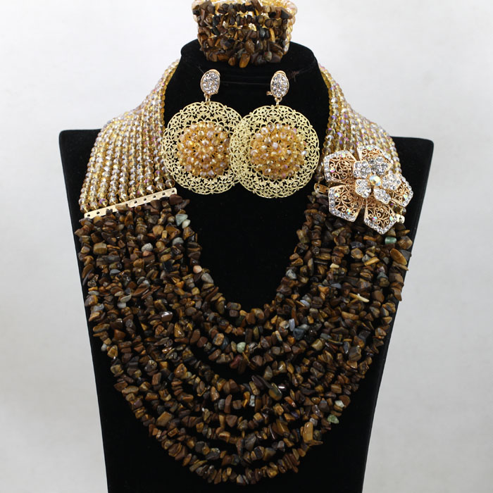 Gorgeous Brown Crystal Bridal Bead Jewelry Set Handmade Champagne/Gold Broken Full Beads Party Annivesary Lady Jewelry Set QW222Gorgeous Brown Crystal Bridal Bead Jewelry Set Handmade Champagne/Gold Broken Full Beads Party Annivesary Lady Jewelry Set QW222