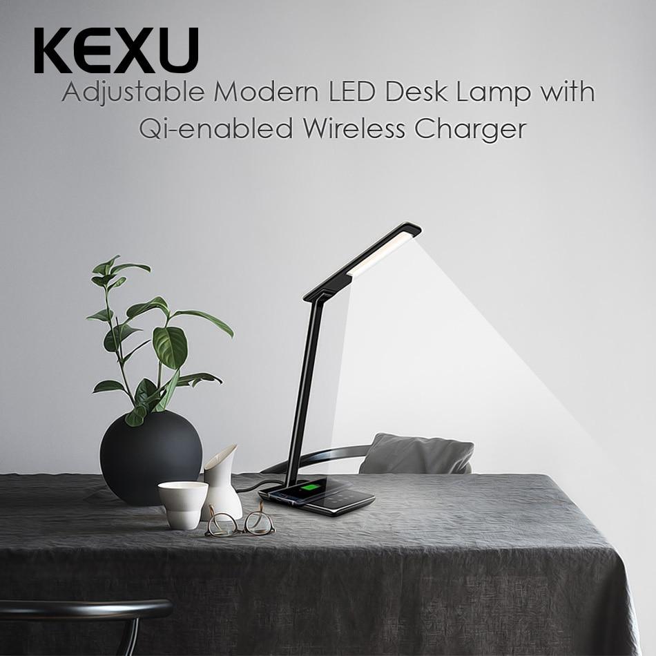 KEXU 2 en 1 sécurité Ingert série LED lampe de bureau QI chargeur sans fil universel pour iPhone pour Samsung S8 Plus adaptateur de prise ue/US