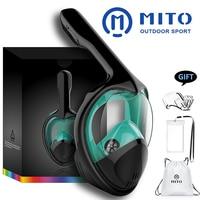 2019 Full Face Snorkeling Masks Panoramic View Anti fog Anti Leak Swimming Snorkel Scuba Underwater Diving Mask GoPro Compatible