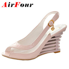 Airfour Wedges Heel font b Sandals b font Buckle Style Open Toe font b Shoes b