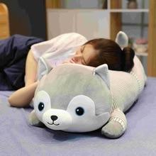 High Quality Big Husky Plush Toy Soft Cartoon Animal Dog Stuffed Doll Boyfriend Toy Pillow Cushion Kid Christmas Birthday Gift цена