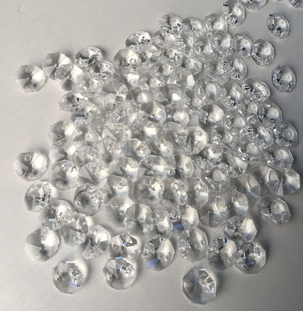 2017 Hot 14mm Clear Color,1000pcs/lot Topper Crystal Acrylic Octagon Beads  Chandelier Garland