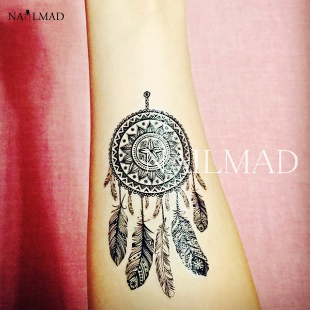 2pcs Dreamcatcher Body Tattoo Waterproof Temporary Tattoo Paste Tattoo Decals Body Art Henna Tattoo Stickers