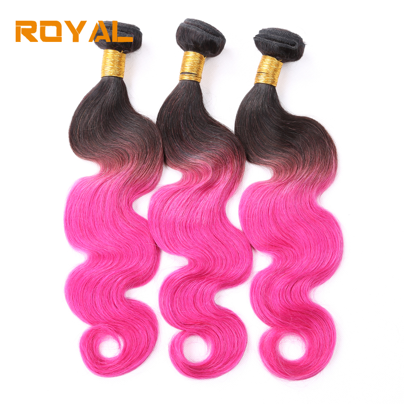 Pre-Colored T1B/Pink Color Brazilian Ombre Human Hair Bundles Body Wave 3 PCS Lot Non Remy Royal Hair Bundles ...