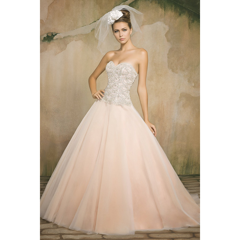 peach ball gown wedding dresses with crystals beaded sweetheart beaded sequins elegant bridal dresses backless luxurious