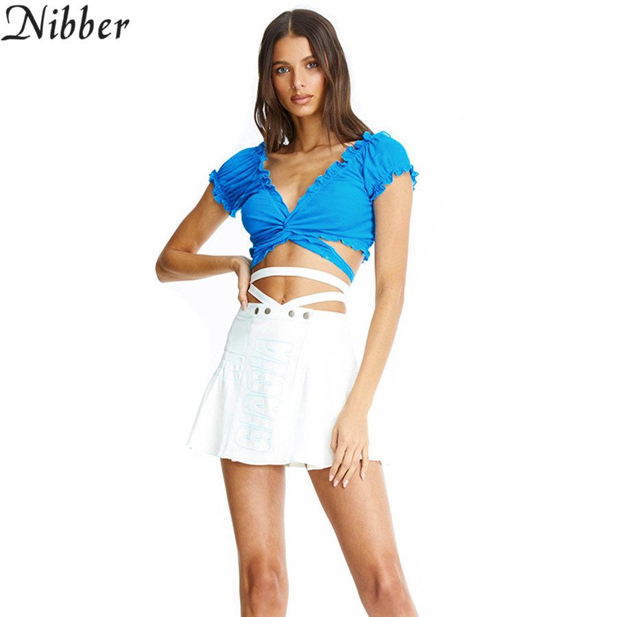 Nibber Summer Solid Sexy Bandage Cross Bandage Crop Tops T-shirt2019 Hot French Romantic Style Casual Tee Ladies Street Clothing