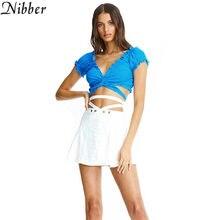 Caucho verano sólido sexy tops cortos y ajustados con diseño cruzado T-shirt2019 caliente francesa romántica estilo Casual damas ropa de calle