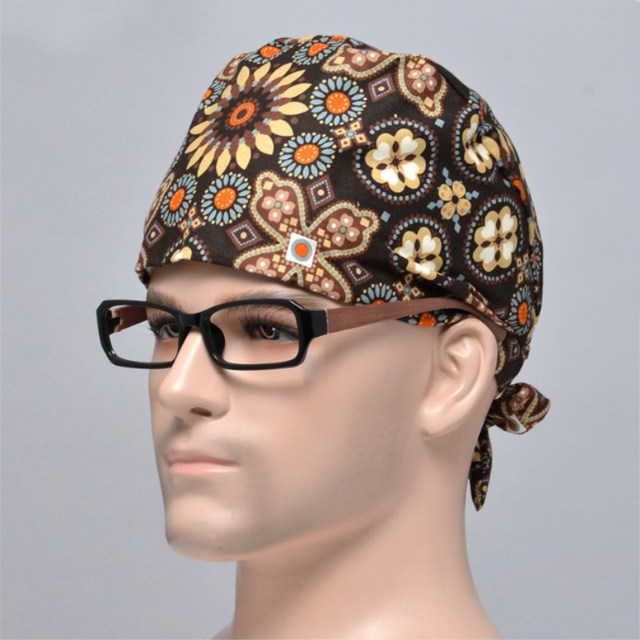 2 pcs Adjustable Man Doctor Nurse Working Cap Natural Cotton Material Surgical Caps Add sweat-absorbent towel for Hospital